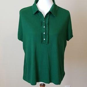 Talbots Dark Moss Green polo tee shirt